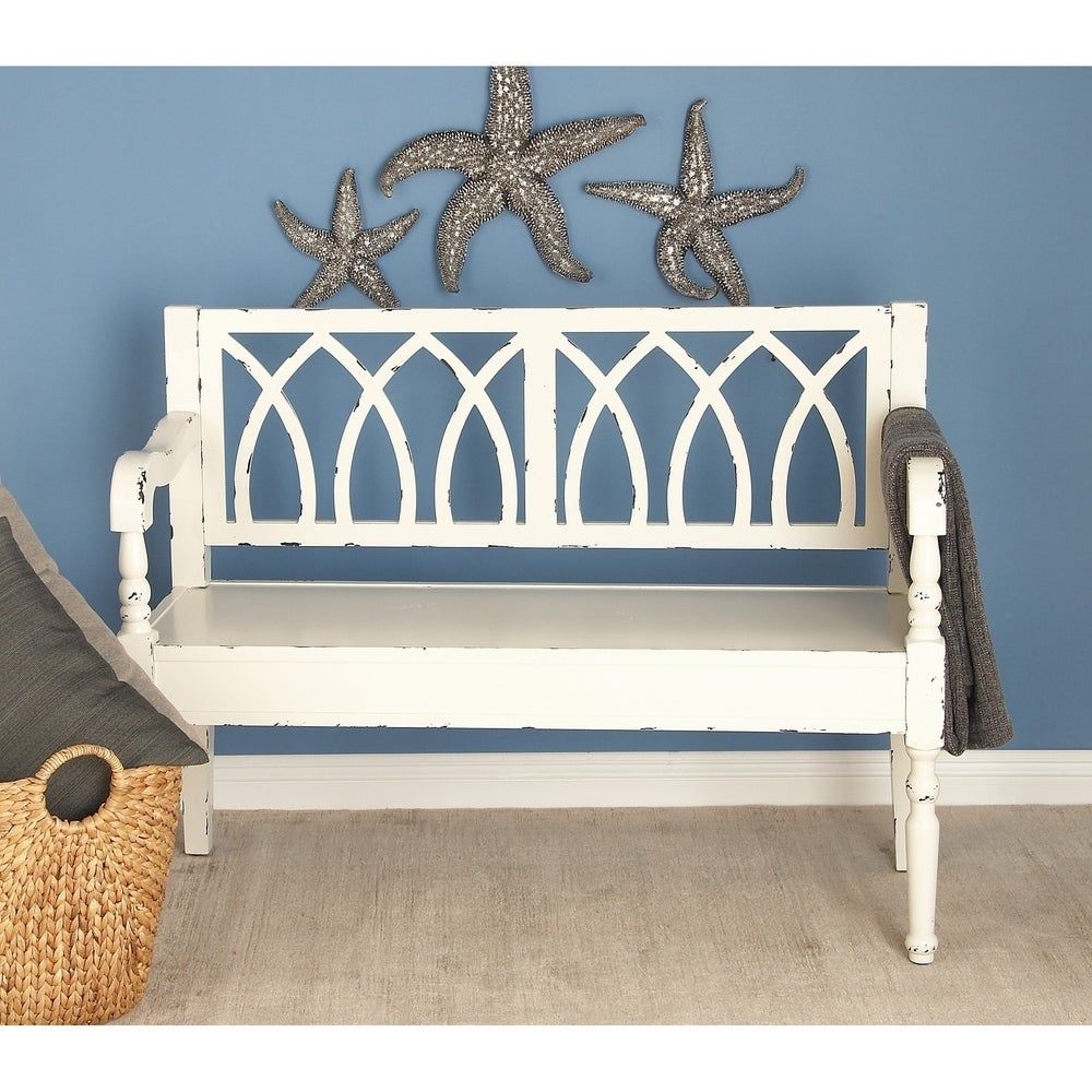Farmhouse distressed white wooden bench by studio 350 in