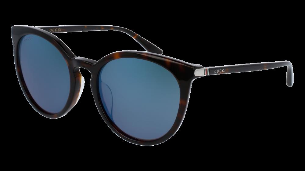 15c0f3861a1 Gucci - GG0064SK-003 Havana Sunglasses   Blue Mirror Lenses ...