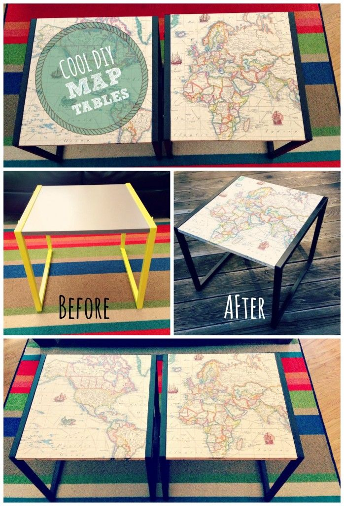 COOL DIY MAP TABLESfrom Cul de sac Cool These