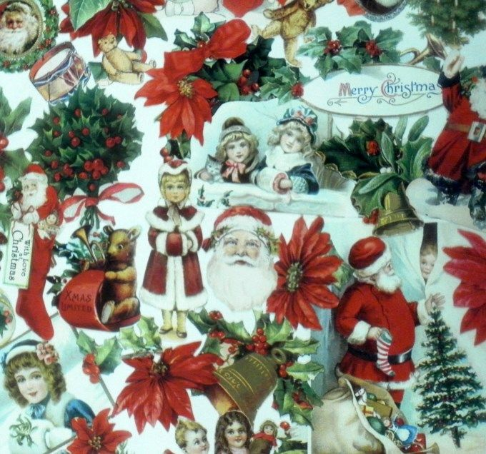 Santa /& Sleigh Decorative Paper Sheet Cavallini /& Co