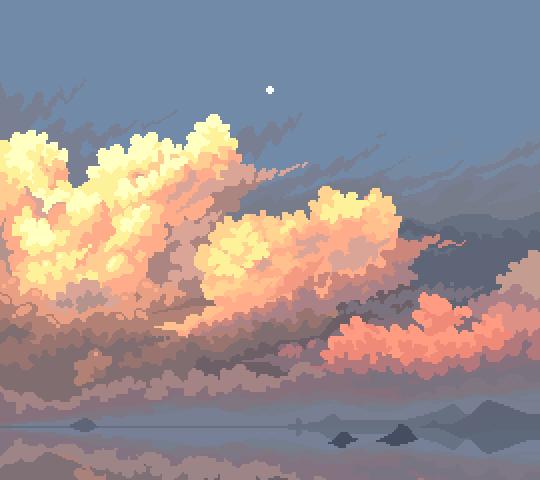 oc another self indulgent sunset 2 hrs 47 colors pixelart pixel art landscape pixel art pixel art design pixel art landscape