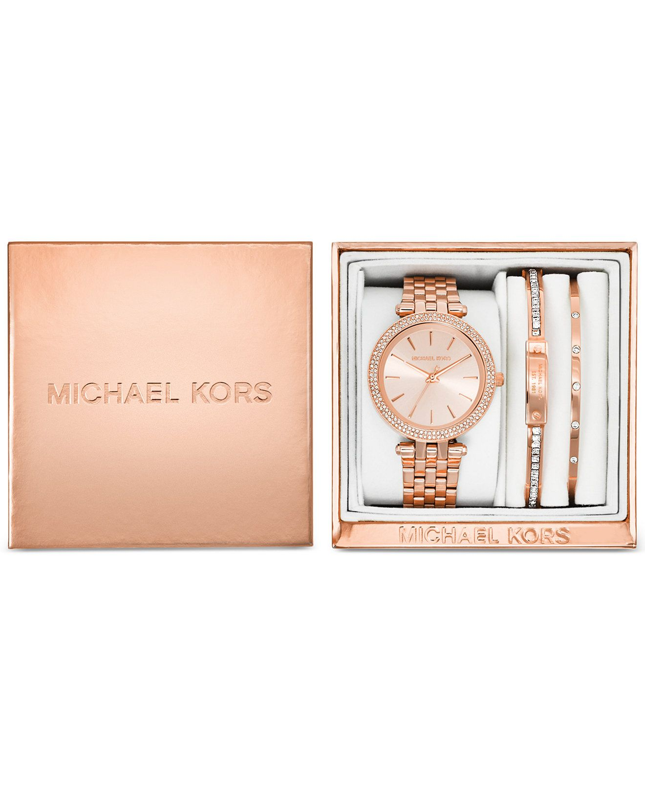 23a3afcafc6 Michael Kors Women s Mini Darci Rose Gold-Tone Stainless Steel Bracelet  Watch Gift Set 33mm