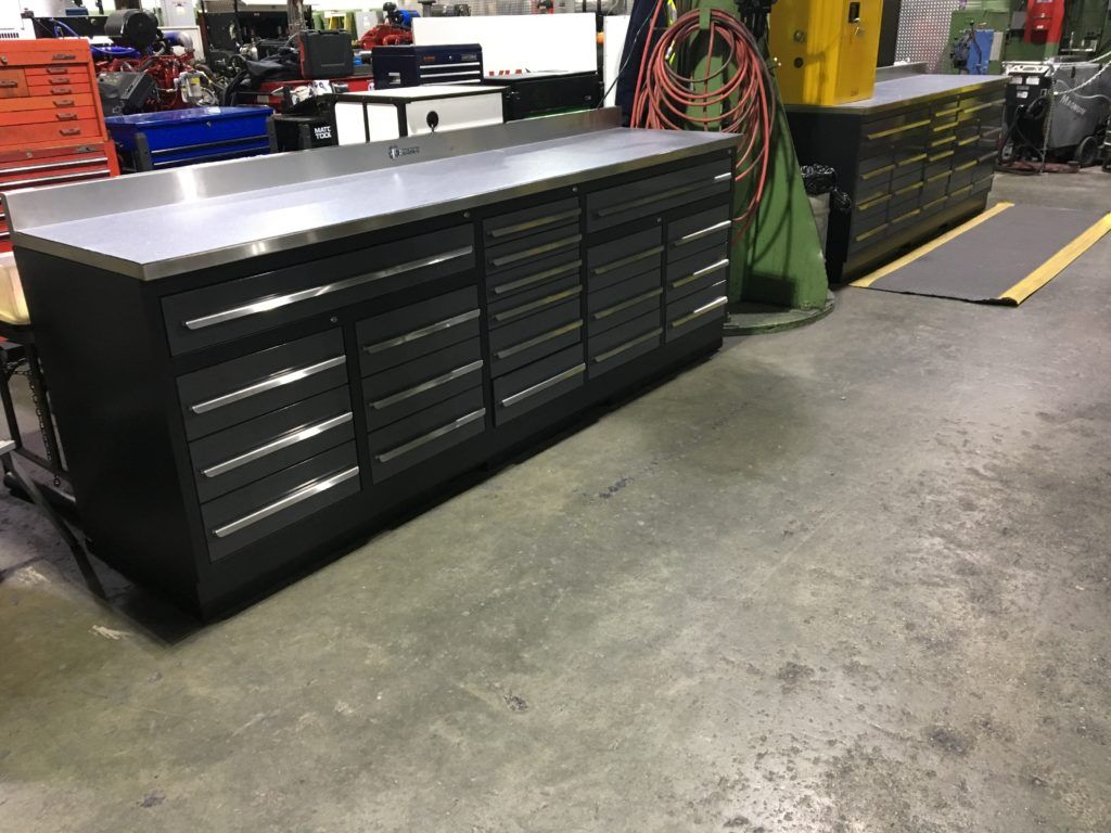 20 Drawer 9ft 4 1 4 Midnight Pro Series Workbench From Dragonfire Tools Drawers Workbench With Drawers Garage Work Bench