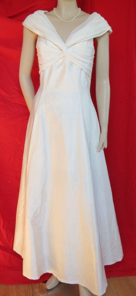Monsoon Seidenkleid 38 Hochzeit Wildseide Brautkleid creme weiß ...
