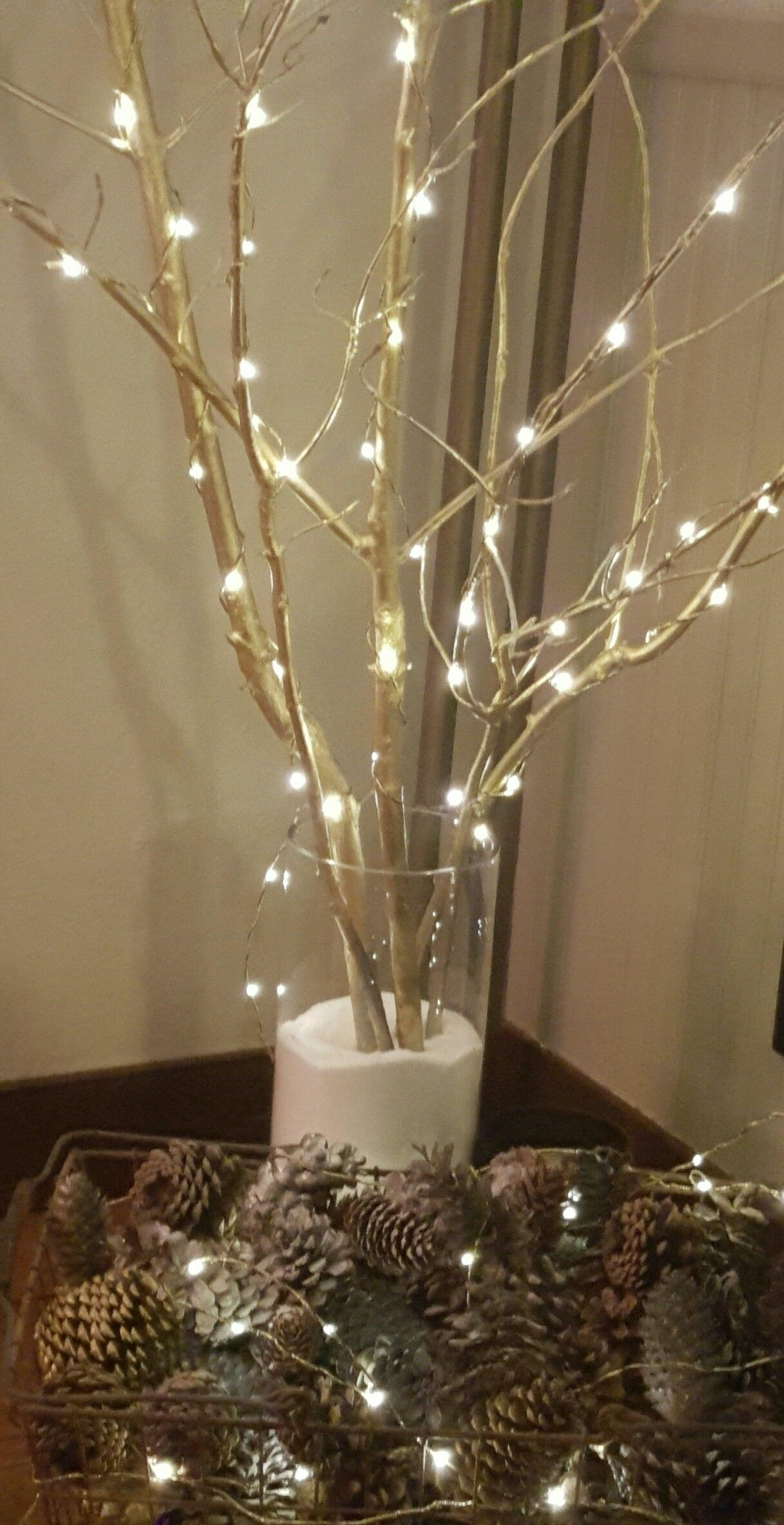 Microlites On Gold Tree Branches In A Vase Of Epsom Salt Tree Branch Decor Gold Tree Branch Centerpiece Tree Branch Centerpieces