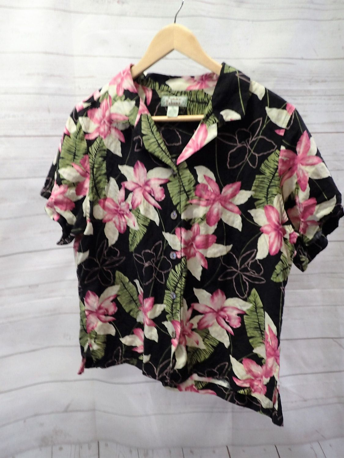 69c0f117f9fe68 Womens Vintage Tommy Bahama Tropical Hawaiian Button Up Shirt Blouse - XL -  Silk Linen - Pink Black by DOINGITSOBER on Etsy