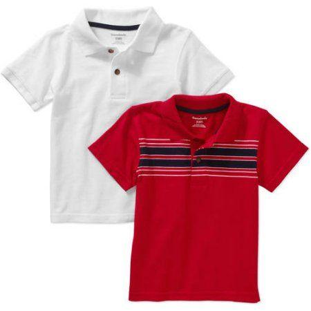 34e1dde78 Garanimals Baby Toddler Boy Short Sleeve Solid & Stripe Polo Shirts,  2-pack, Size: 25 Months, White