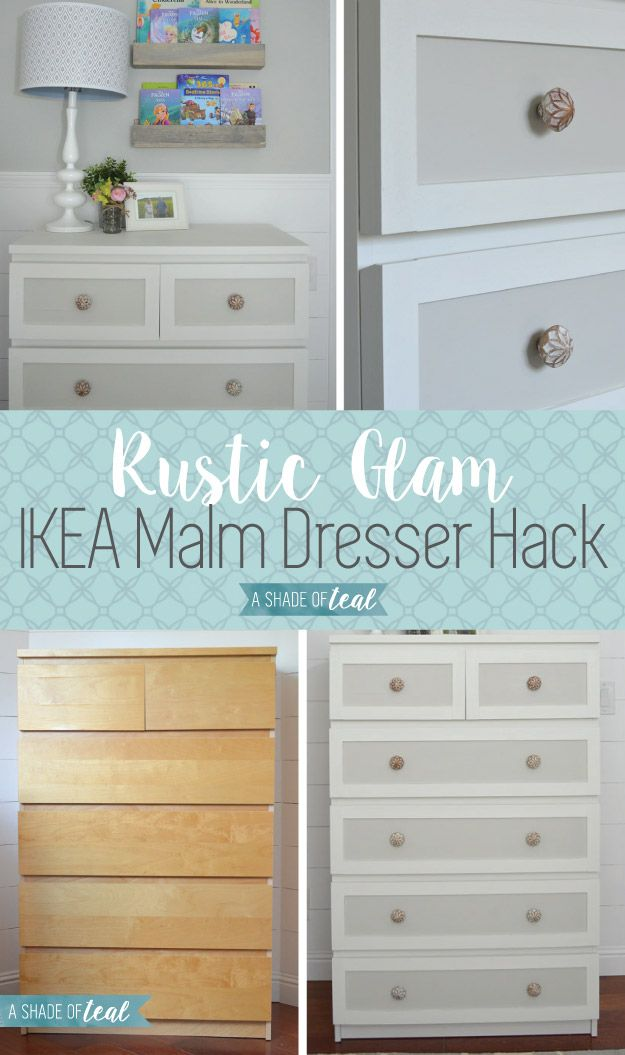 ikea malm dresser hack for a rustic glam nursery malm dresser hacks pinterest. Black Bedroom Furniture Sets. Home Design Ideas