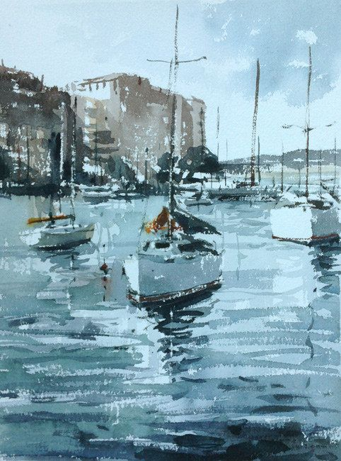 https://flic.kr/p/vmebZB | Rushcutters-Bay-2-by-tony-belobrajdic | watercolour on Arches paper