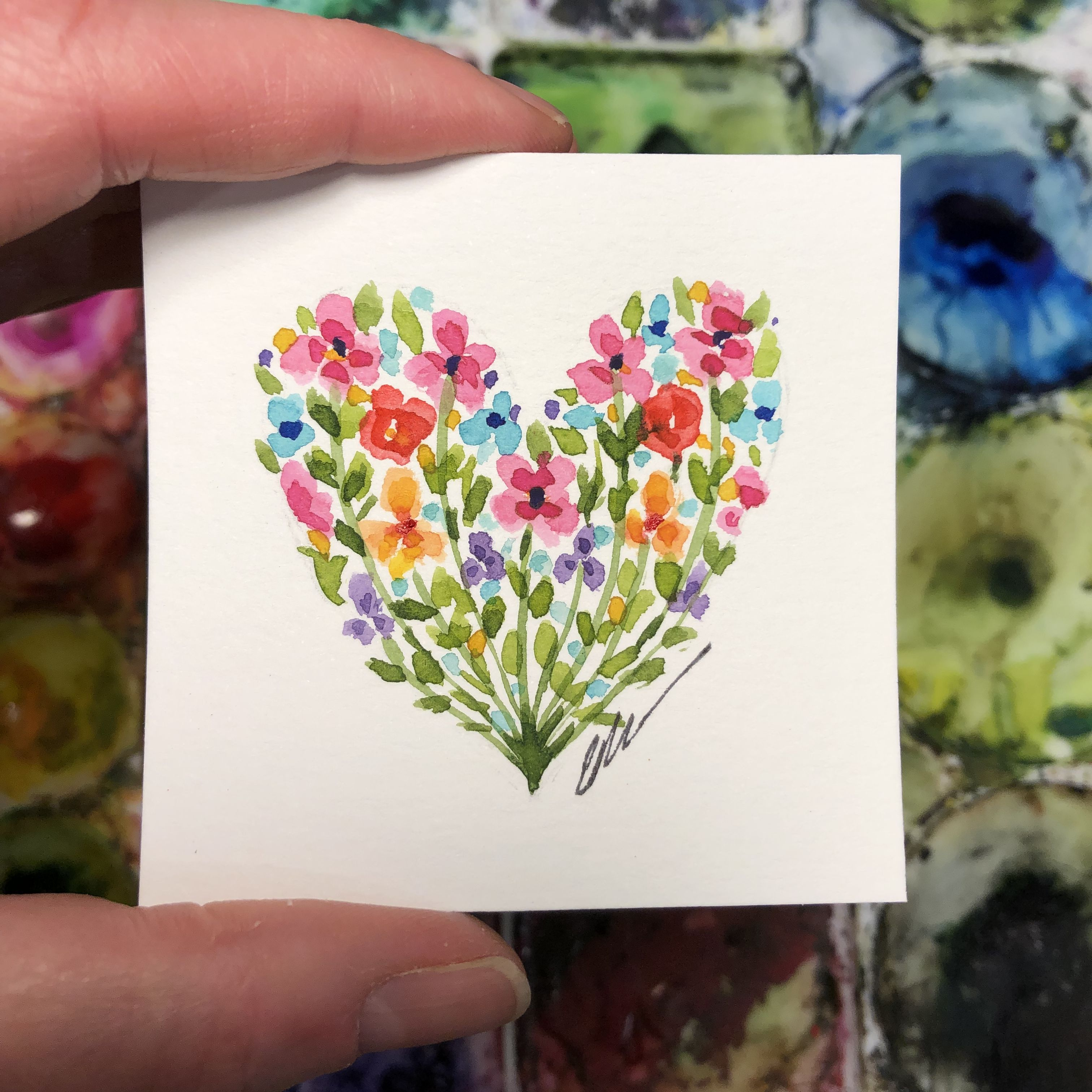 A Fun 3 X3 Painting Watercolor Art Homedecor Flowers Artwork