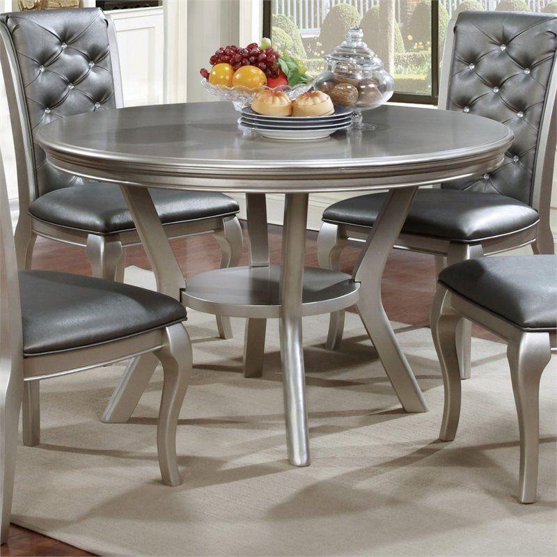 Furniture Of America Deedra Round Dining Table In Silver Idf 3219rt Round Dining Room Table Dining Table In Kitchen Round Dining