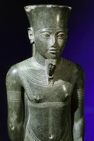 size: 12x8in Photographic Print: Schist statuette of the God Amun, Ancient Egyptian, 18th dynasty, 1334-1295 BC by Werner Forman :