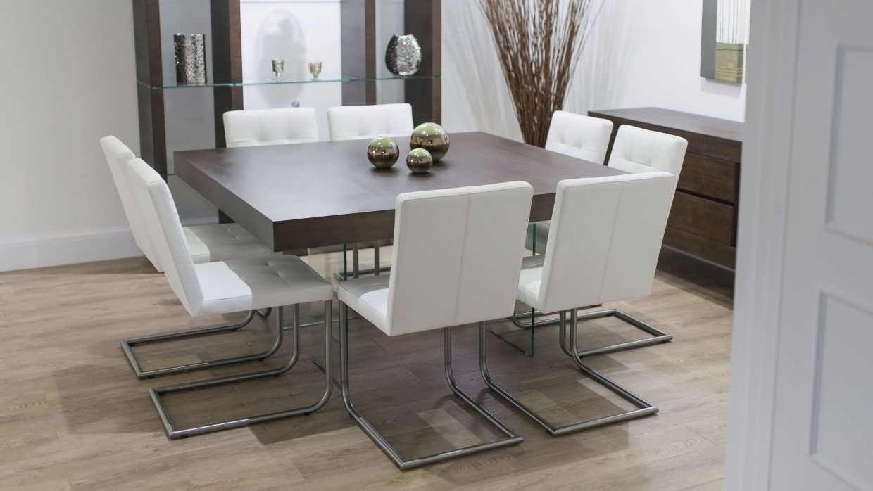 Natural Aria White Oak And Glass Square Dining Table Stylish Arc
