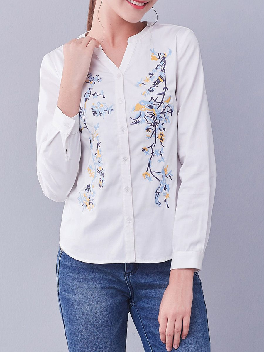 #AdoreWe #StyleWe I BELIEVE YOU Floral Simple V Neck Embroidered Long Sleeve Blouse - AdoreWe.com