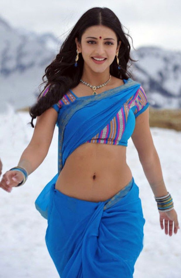 Shruthi Hassan Hot Deep Navel Show In Blue Saree From Gabbar Singh ...