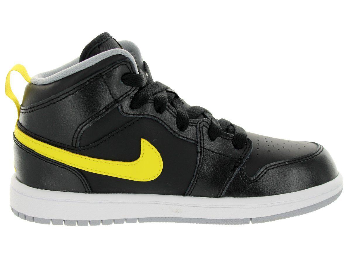 Nike Jordan Kids Jordan 1 Mid BP BlackVibrant YellowWolf