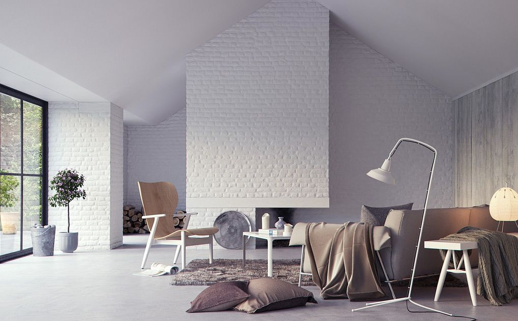 30 White Brick Wall Living Rooms That Inspire Your Design Creativity