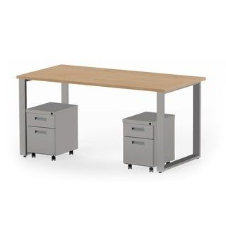 Marvel Aire 60 X 30 Desk 2 Mobile Pedestals Silver Maple