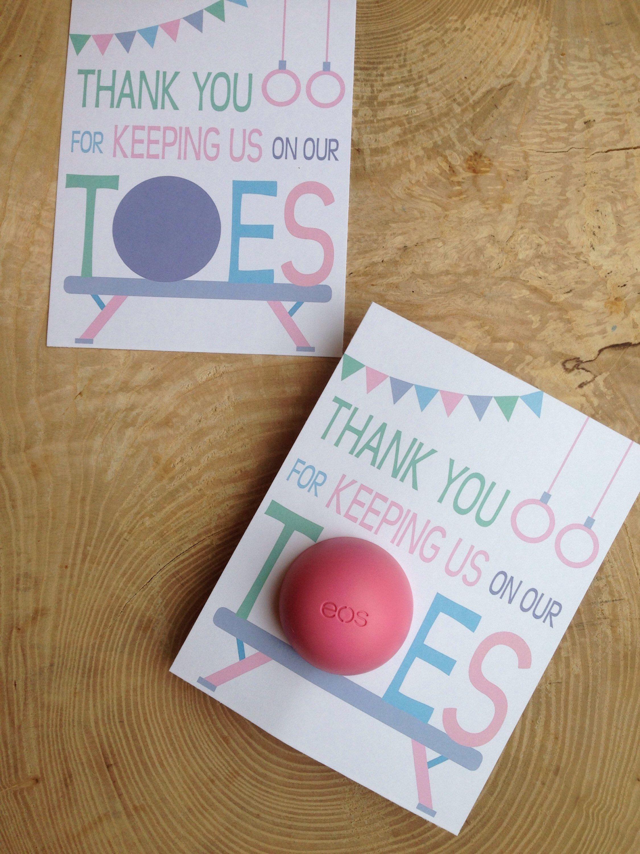 Gymnastics Instructor Thank You Cards For Eos Lip Balm Printable