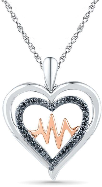 Zales 1/8 CT. T.w. Diamond Double Heart Circle Pendant in Sterling Silver alhxpuUM
