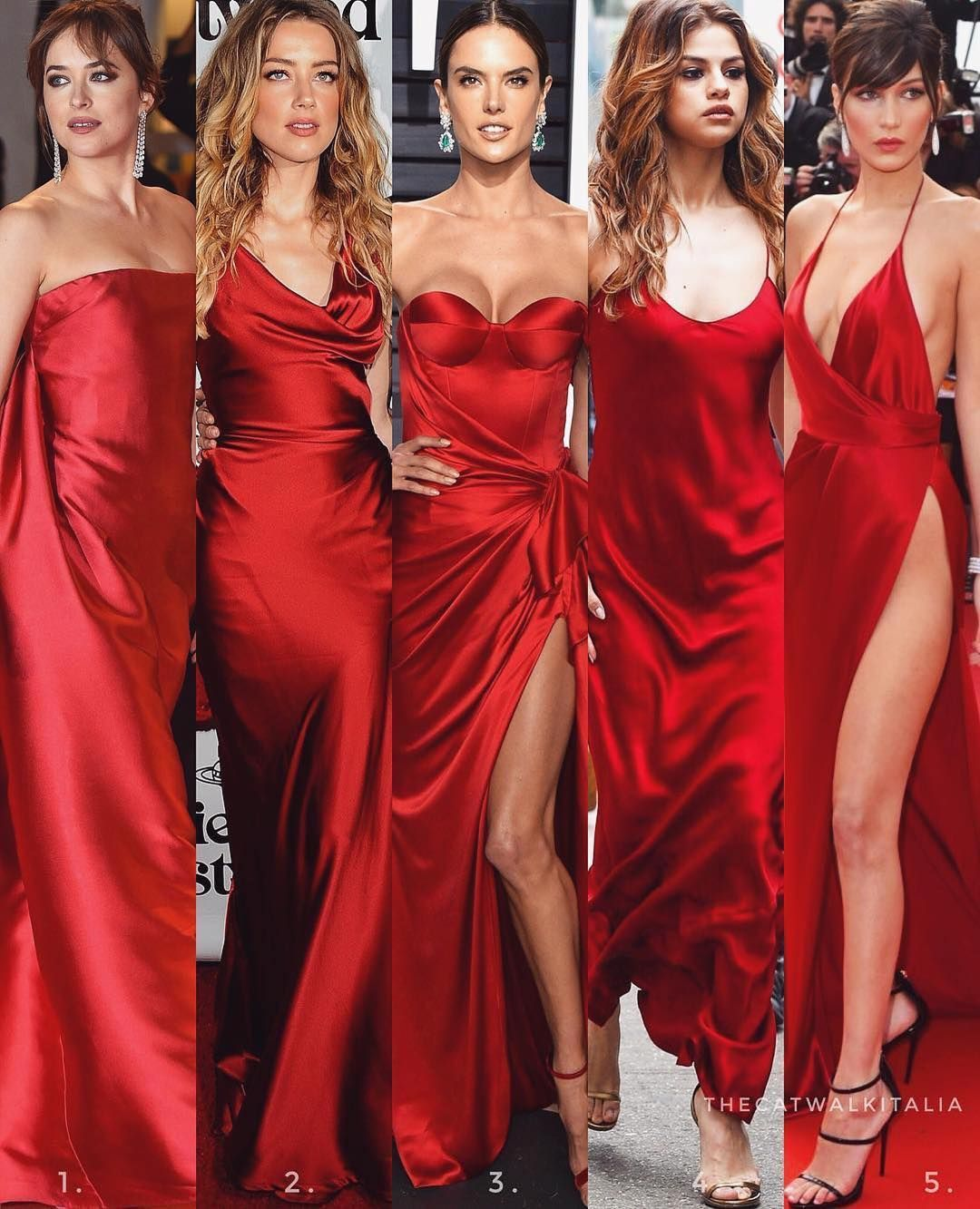 Cat Shim American Beauty Star On Instagram Which Red Silk Dress 1 2 3 4 Or 5 Credit Red Silk Dress Red Silk Prom Dress Silk Bridesmaid Dresses