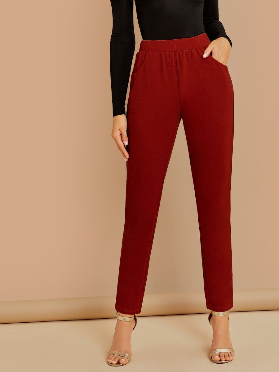 dcec595f7c2 Wide Waistband Solid Pants -SheIn(Sheinside)