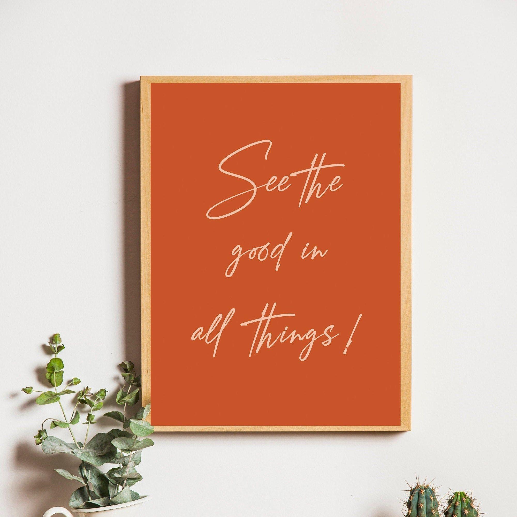 See The Good Quote Printminimalist Poster Burnt Orange Wall Etsy In 2020 Orange Wall Art Orange Walls Orange Aesthetic