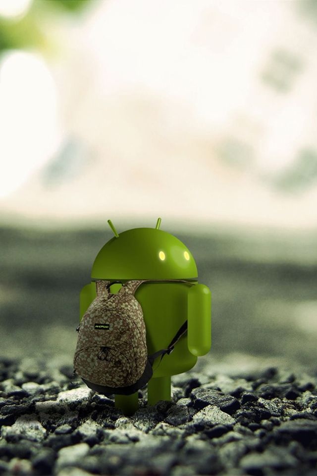 3d Android With Backpack Android Wallpaper Phone
