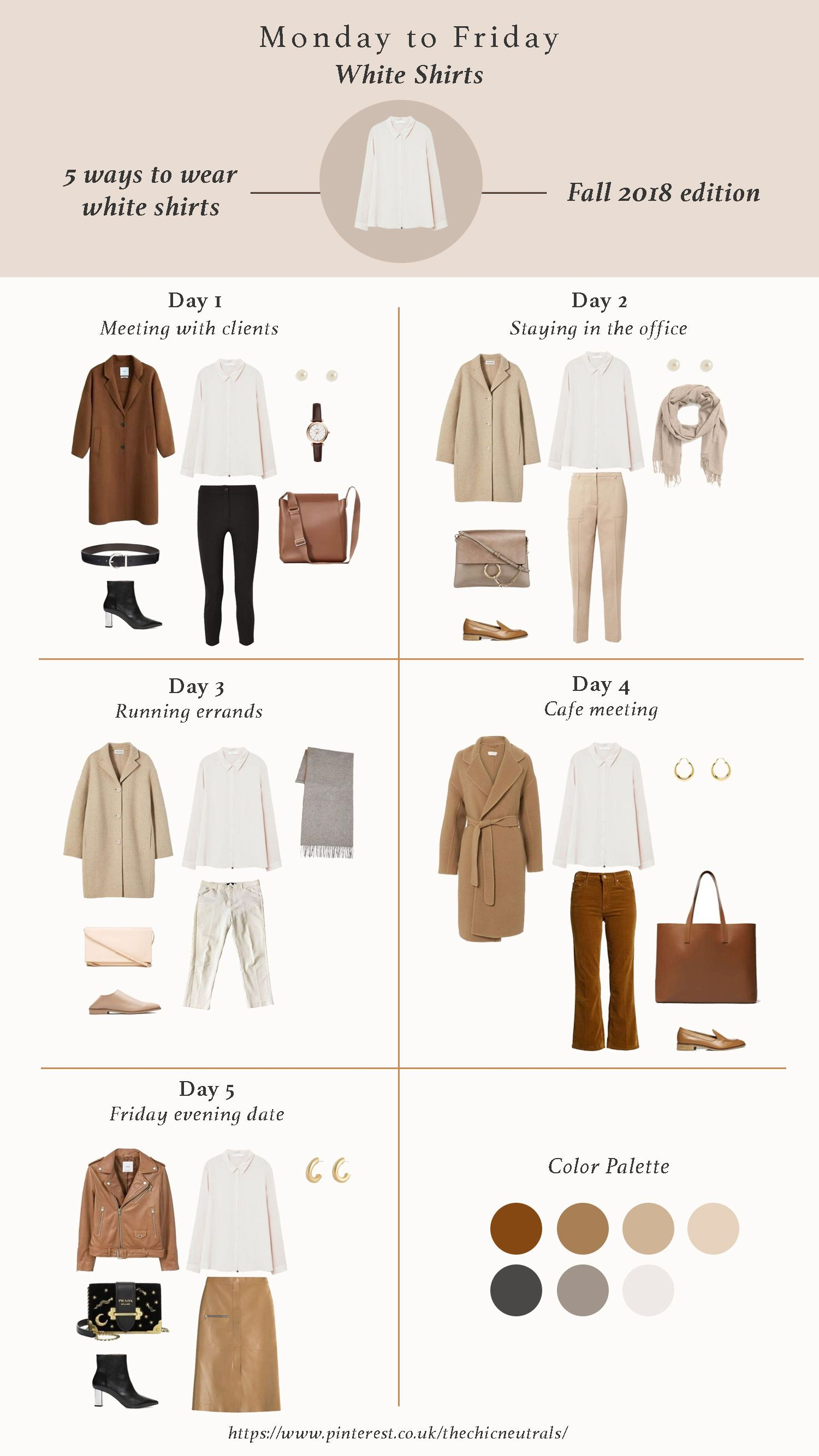 Styling white shirts has never been any easier in this season. Here are 5 ways to style white shirts for fall 2018. Fall Outfits | Capsule Wardrobe | 2018 Fashion Trend Items | Neutral Tones | Nude tones | Minimalism Style #fall2019fashiontrends