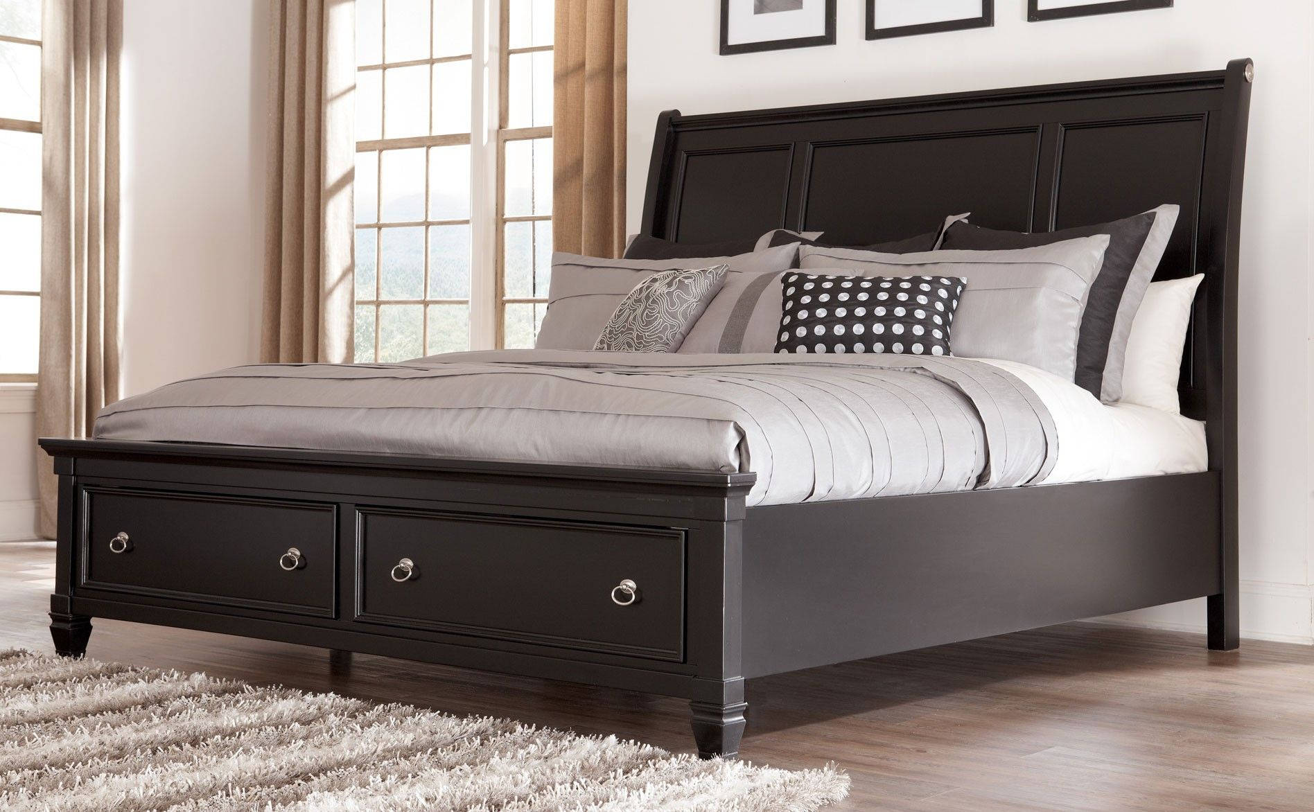 greensburg king sleigh bed with storage footboard by millennium at marlo furniture