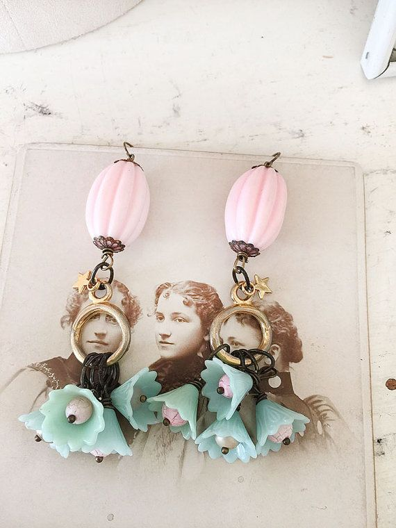 tassleassembled chandelier flower earrings star charms by Arey