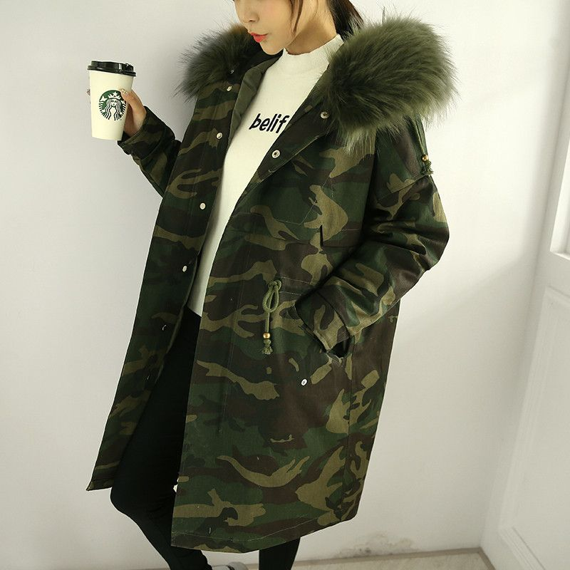 Winter Jacket Women Oversized Coats Camouflage Cotton Jacket Real ...