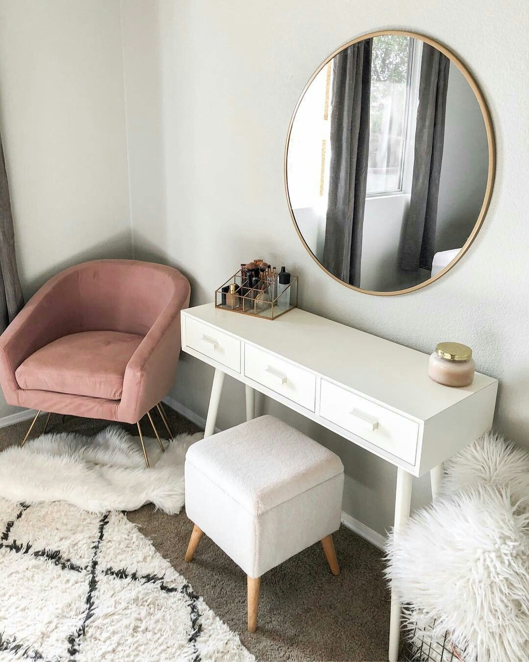 New Ikea Malm Vanity And Ghost Chair Simple An Clean Dressing Table With Chair Dressing Table Bedroom Dressing Table