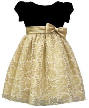 Jayne Copeland Little Girls Velvet Bodice Dress Gold 4