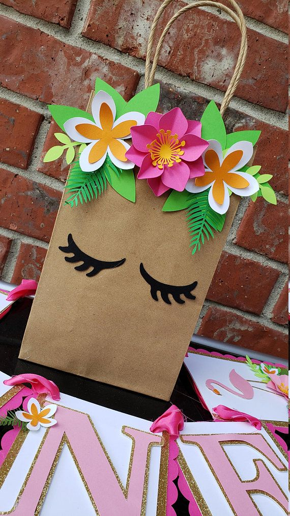 Flamingo Tropical Hawaiin Birthday Goodie Favor Treat Bags #makeflowers