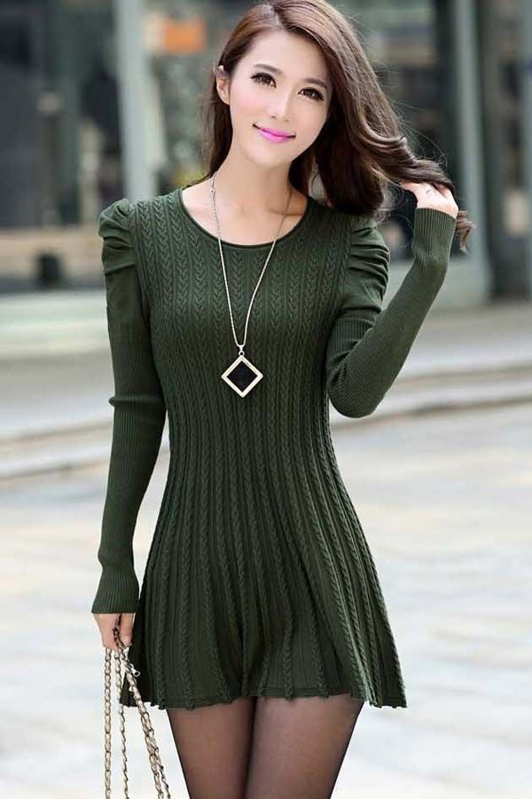 Army Green Puff Sleeve Braided Ribbed Sweater Dress Army