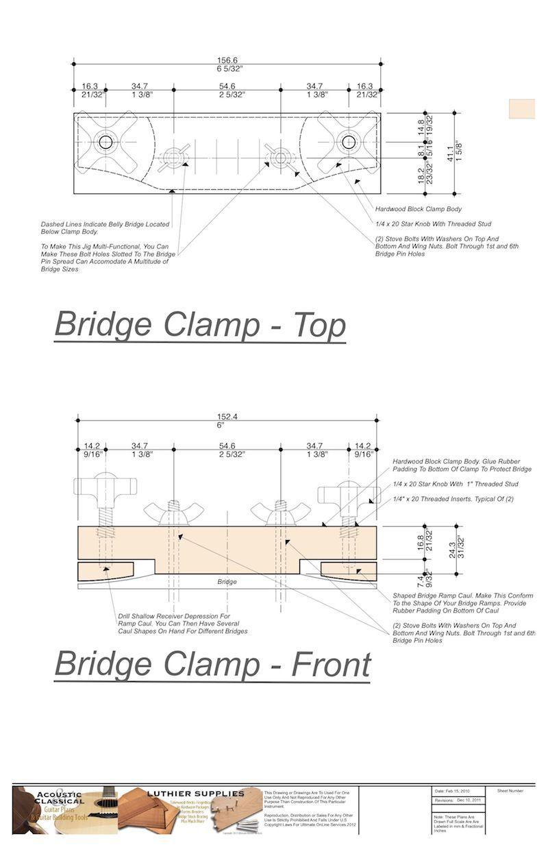 Wood Acoustic Bridge Clamp Plans Archtop Guitar Acoustic Guitar Build Your Own Guitar