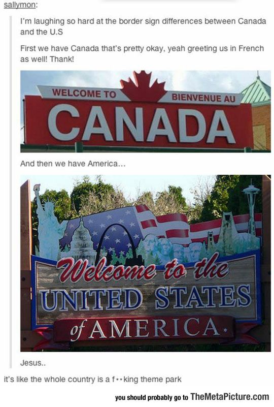 American Vs Canadian Border Signs Funny Tumblr Posts Tumblr