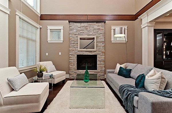 Unique Papasan Chair Design: Sleek Modern Living Room Decorate With Beige  Stone Fireplace