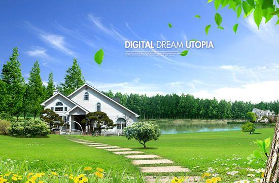 Villa landscape PSD