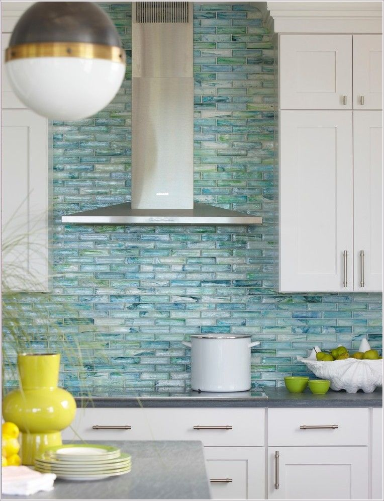 Soft Blue Glass Backsplash Tile With White Wood Cabinet Grey