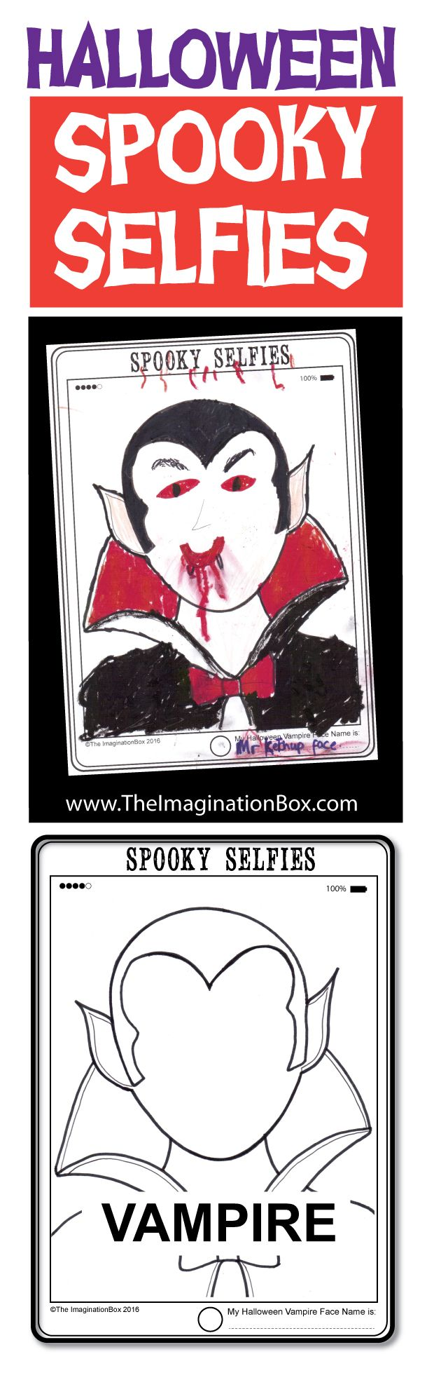 halloween coloring pages - spooky selfies art and writing | outline