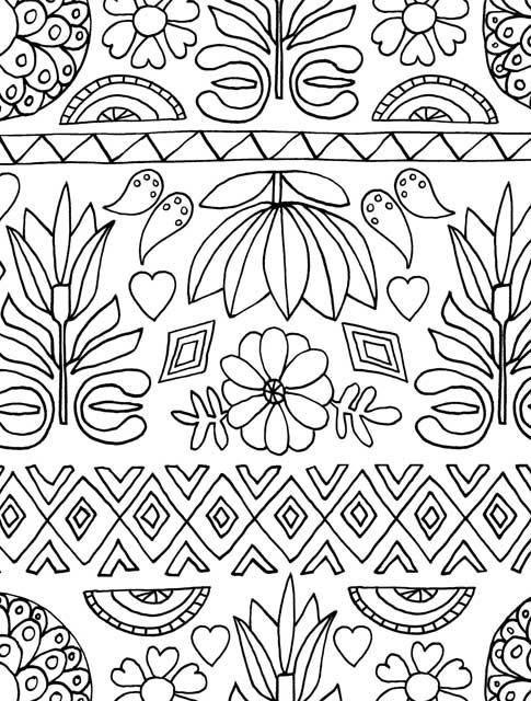 Just Add Color Folk Art 30 Original Illustrations To Color Customize And Hang Lisa Congdon 9781592539437 Coloring Books Mexican Folk Art Coloring Pages
