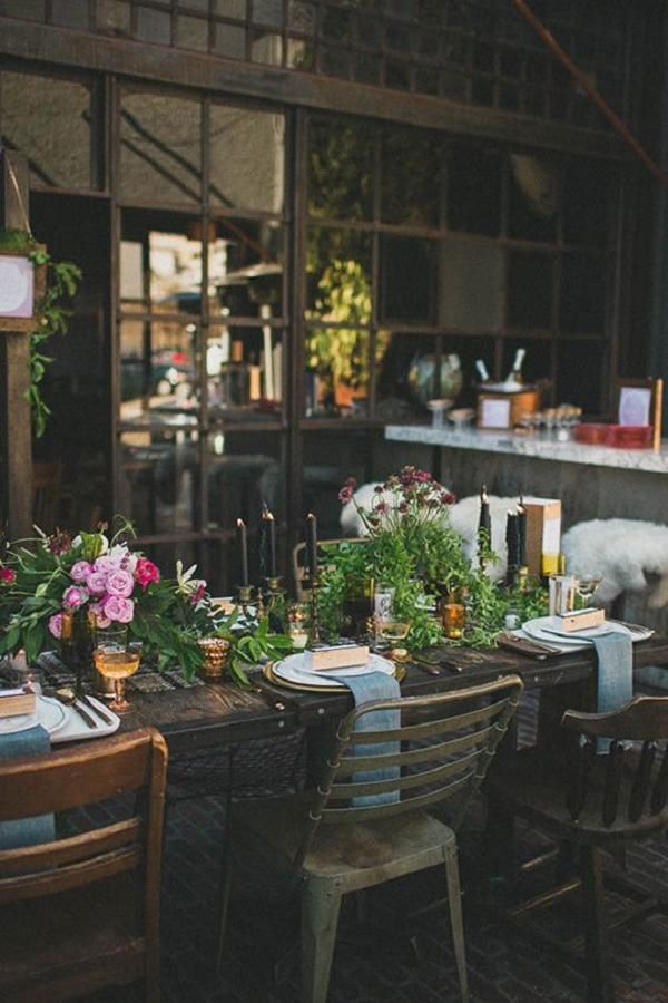 Industrial woodland wedding table ideas