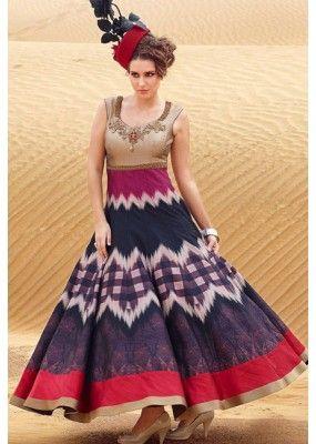 Fancy Multicolour Pure Bhagalpuri Gown - Prestige1020