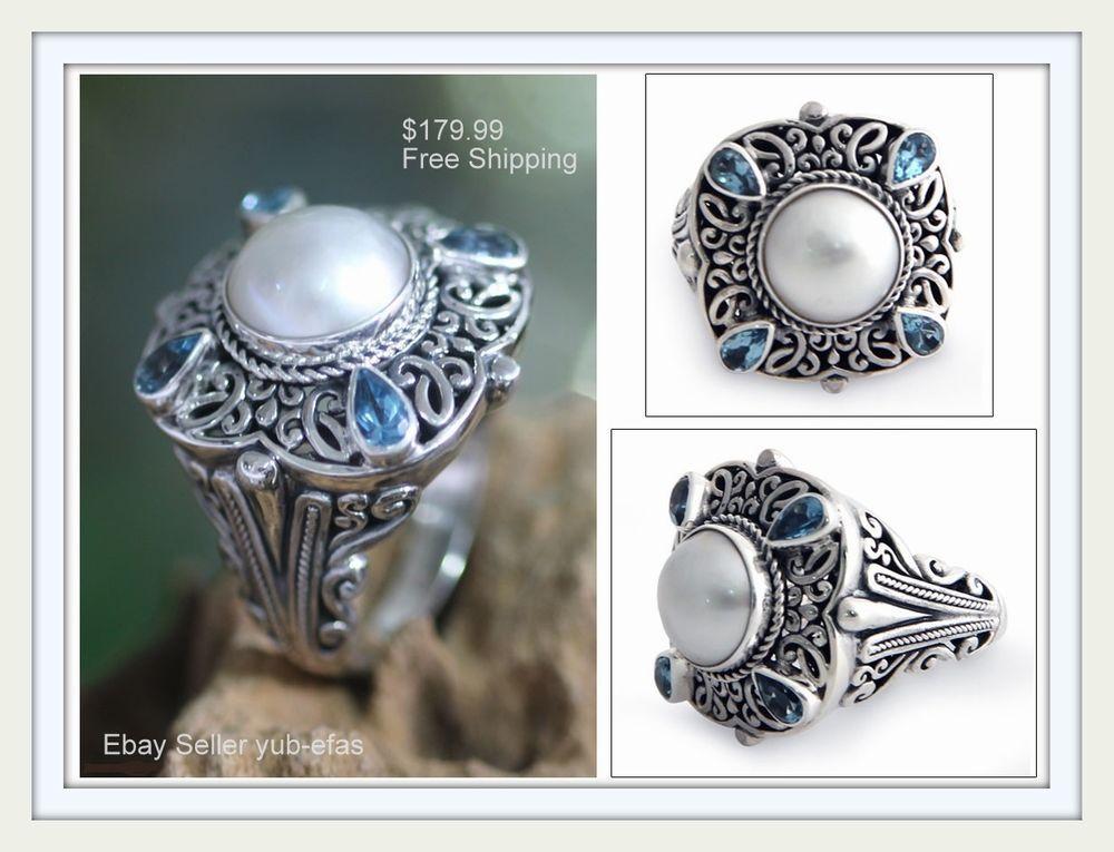 Genuine Pearl Unique Handmade Heavy Sterling Silver Blue Topaz Ring Size 6 7 8 #Handmade #Artisan