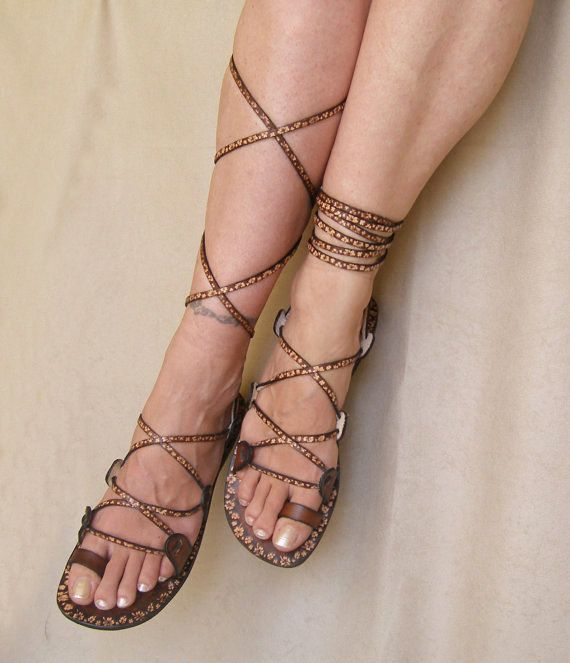 Awesome! Lace Up  Flat  Sandals Greek Goddess Brown Leather With by Calpas, $ 70.00