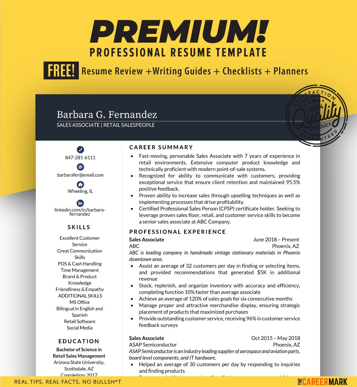 Ats friendly sales associate resume template the career