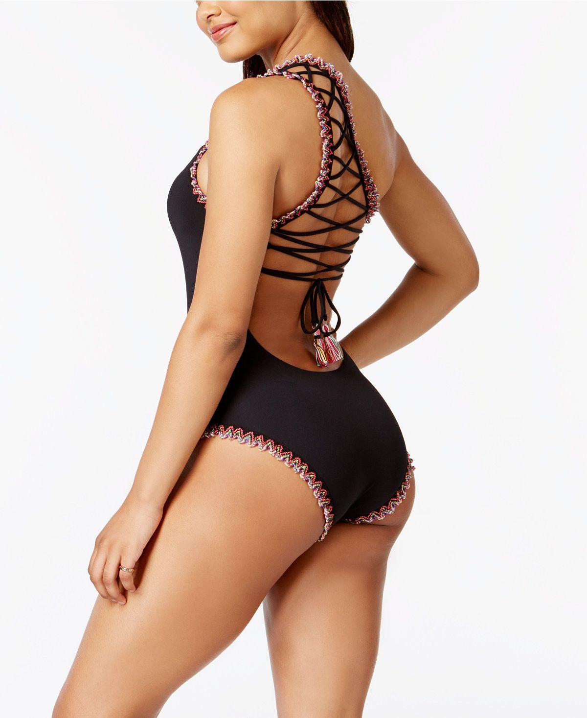 00492b61844 Becca Mardi Gras One-Shoulder Embroidered Swimsuit - Swimwear - Women -  Macy's