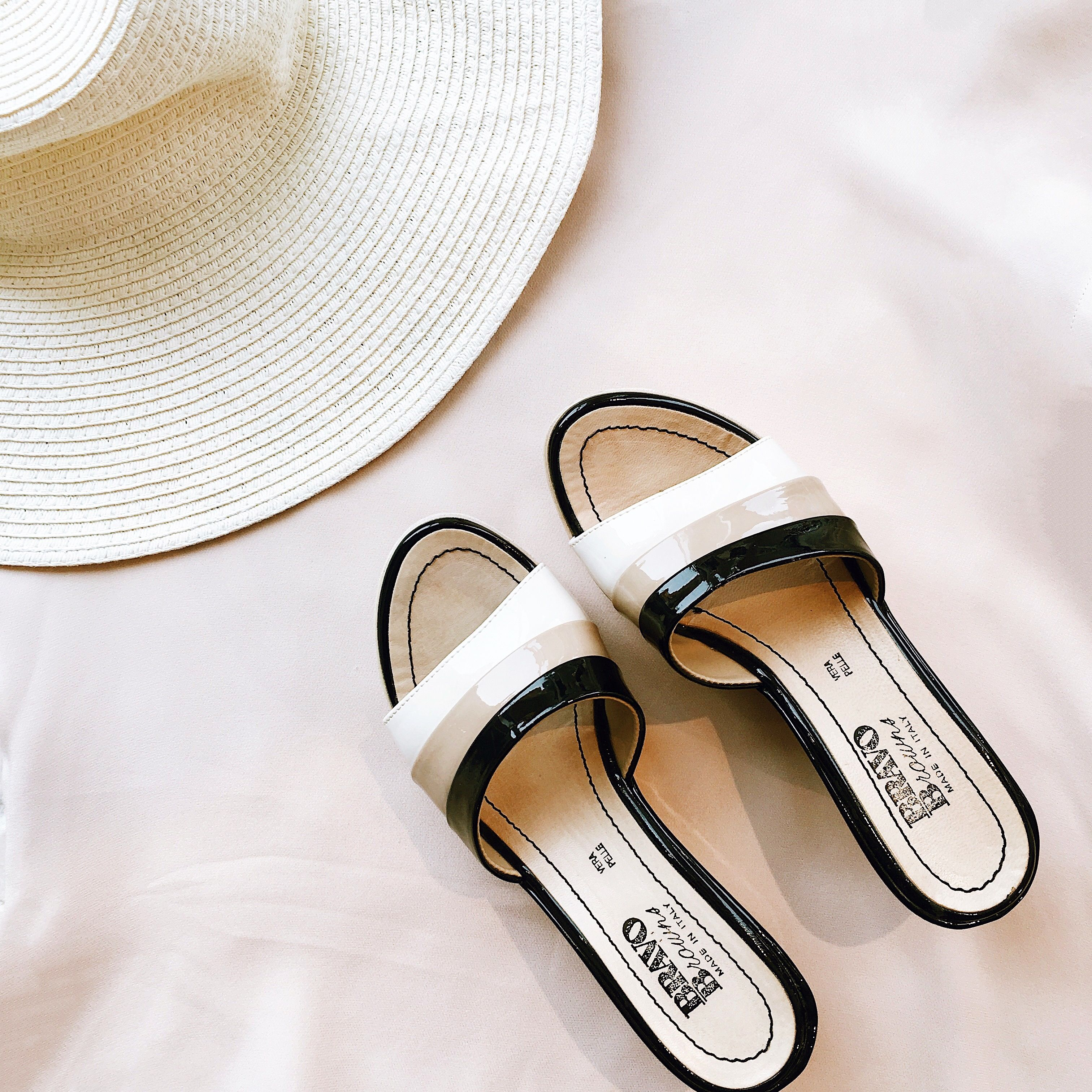 Found at Common Sort - Browns patent wedges and straw sun hat